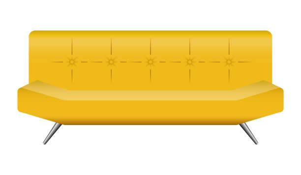 bar-leder sofa mockup, realistischen stil - funktionssofa stock-grafiken, -clipart, -cartoons und -symbole