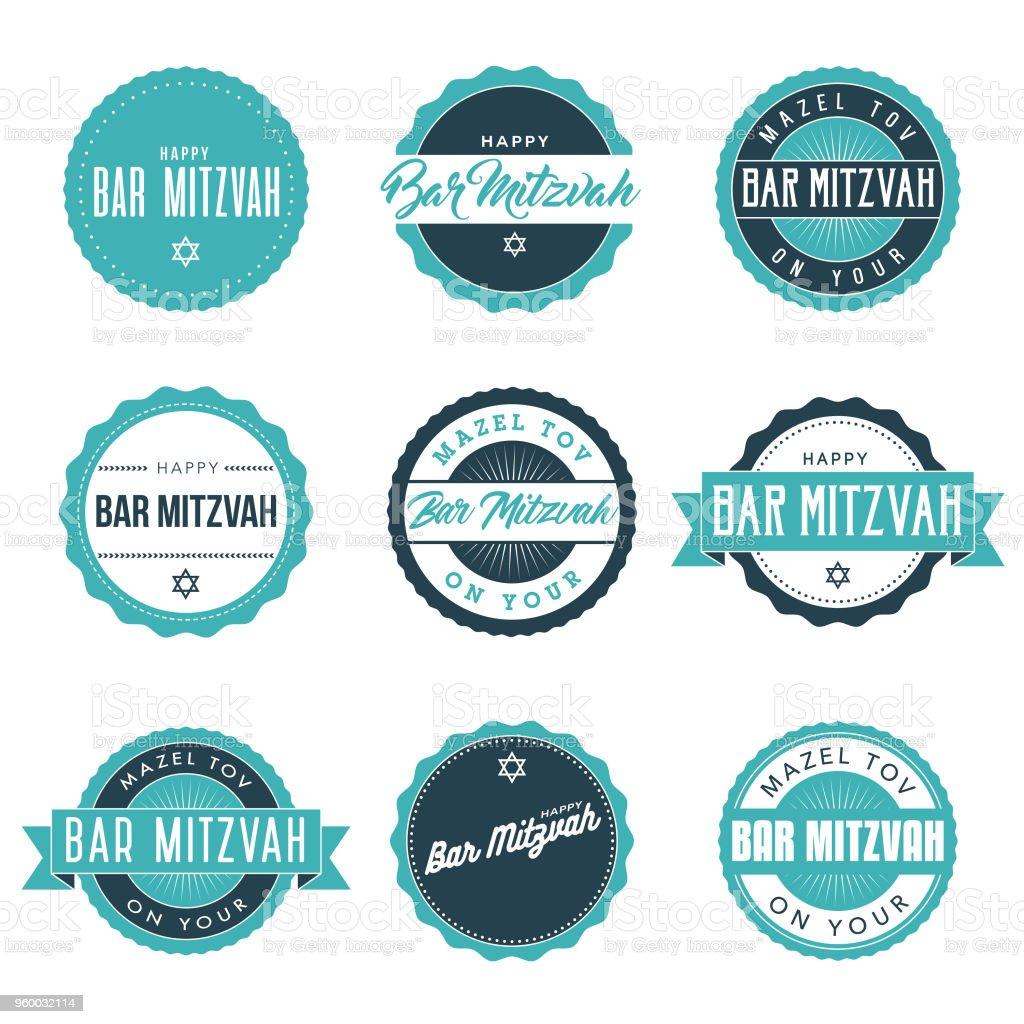 Bar Mitzvah Icon Set vector art illustration