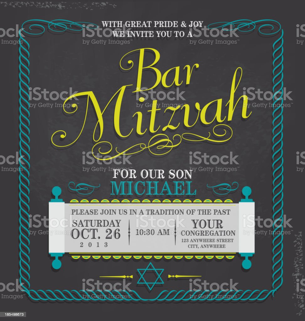 Bar Mitzvah invitation design template chalkboard vector art illustration