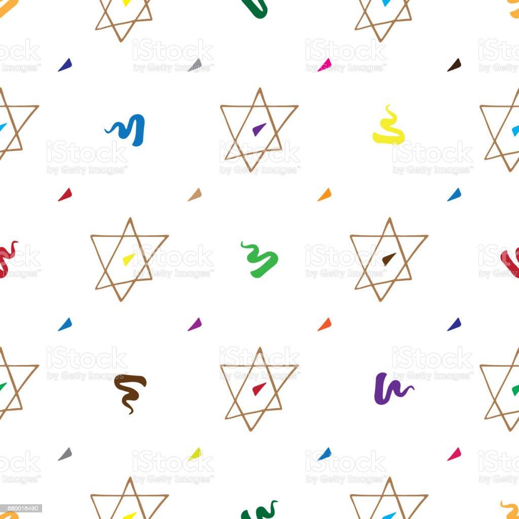 Bar Mitzvah pattern hand drawn vector art illustration