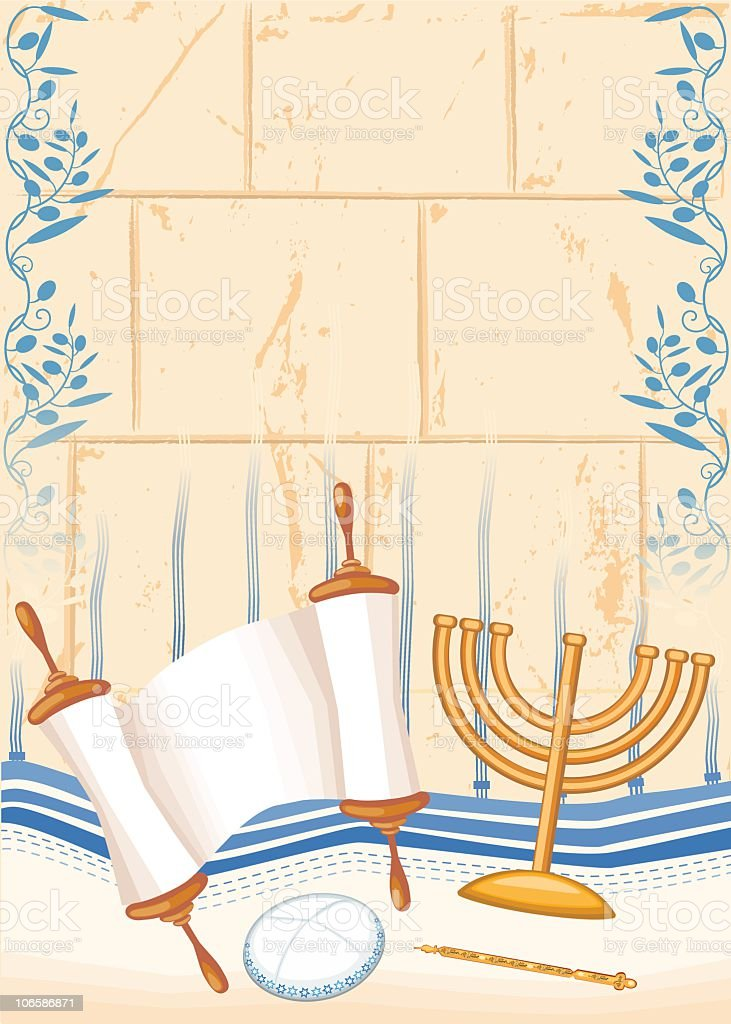 Bar Mizvah Or Jewish Full Age Symbols vector art illustration