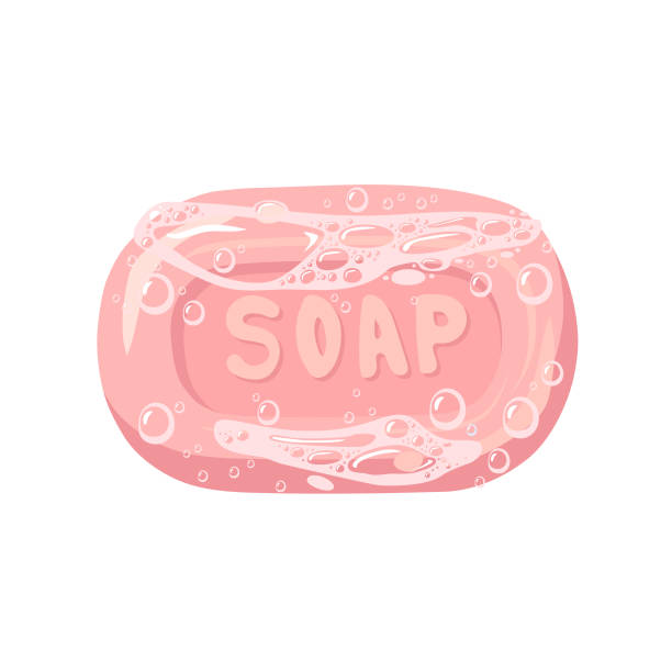 Bar of soap with foam isolated on white. Vector illustration. vector art illustration