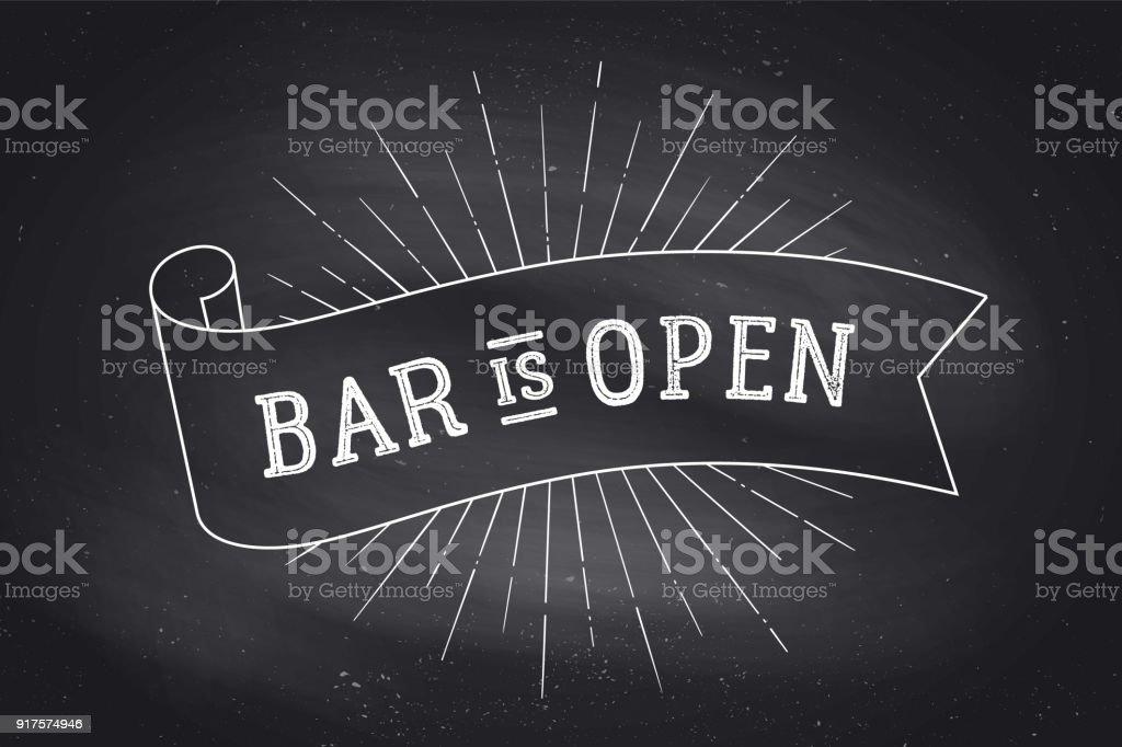 Bar aberto. Quadro-negro - ilustração de arte em vetor