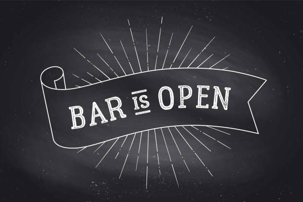 Bar Open. Chalkboard Old school vintage ribbon banner with text Bar Open. Black-white chalk graphic design on chalkboard. Poster for menu, bar, pub, restaurant, cafe, food court. Vector Illustration cafe stock illustrations