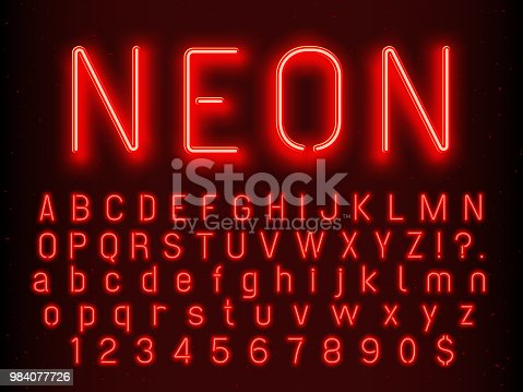 Bar or Casino glowing sign elements. Red neon font letters glow alphabet and numbers with nightlife fluorescent light realistic electric abc text symbols on dark background vector illustration