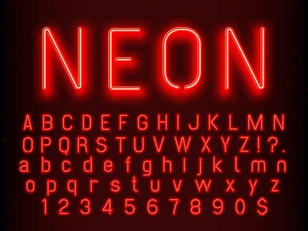 바 또는 카지노 빛나는 서명 요소입니다. 붉은 네온 편지와 형광 라이트 벡터 일러스트 숫자 - 형광 stock illustrations