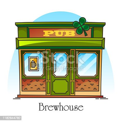 Bar or pub facade in thin line. Brewery building or brewhouse facade or entrance with clover. Construction for night beer drink. Bistro for alcohol beverages. Architecture banner and retail signboard