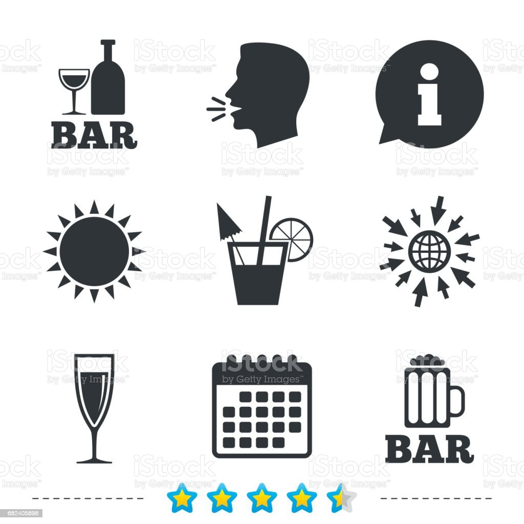 Bar or Pub icons. Glass of beer and champagne. royalty-free bar or pub icons glass of beer and champagne stock vector art & more images of addiction