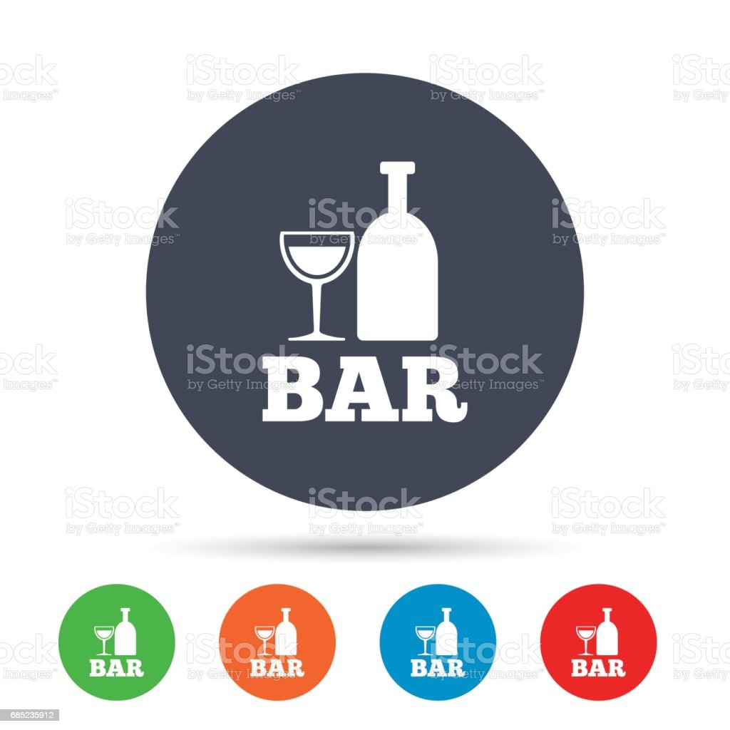 Bar or Pub sign icon. Wine bottle and Glass. royalty-free bar or pub sign icon wine bottle and glass stock vector art & more images of addiction