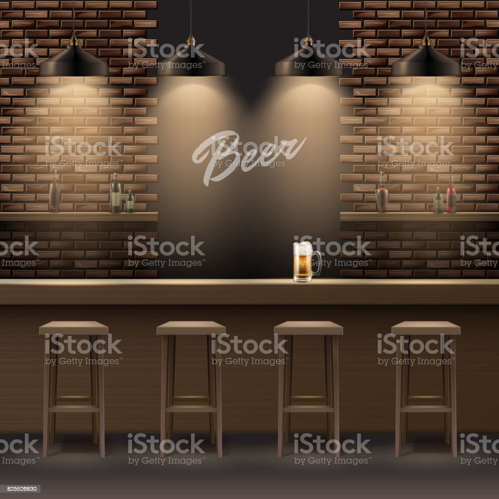 Bar, pub interior vector art illustration