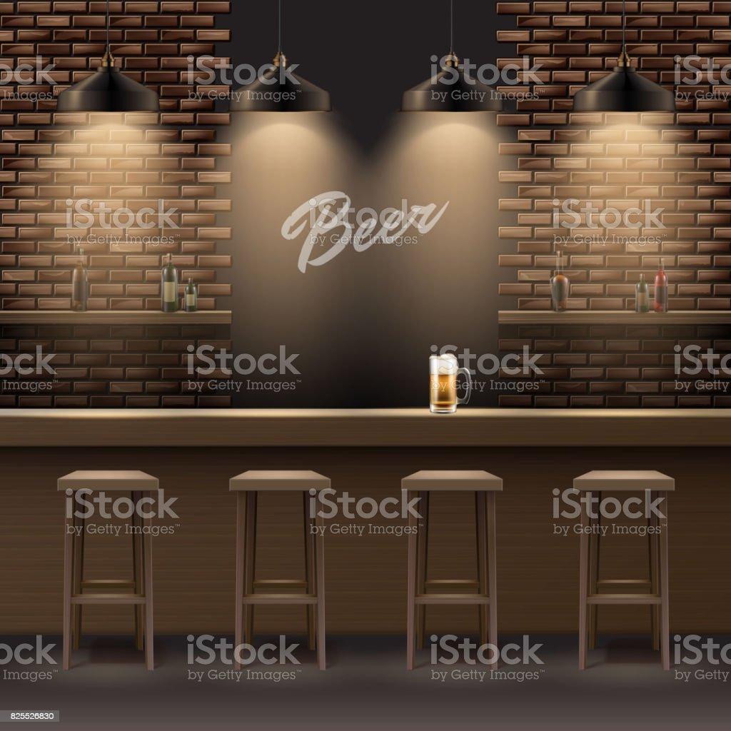 Bar, no interior de bar - ilustração de arte em vetor