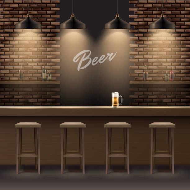stockillustraties, clipart, cartoons en iconen met bar, pub interieur - bar tapkast
