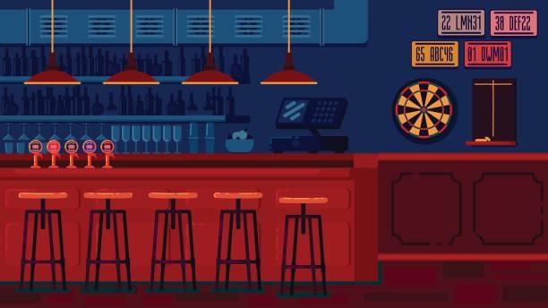bildbanksillustrationer, clip art samt tecknat material och ikoner med bar restaurang med räknare i platt stil - pub