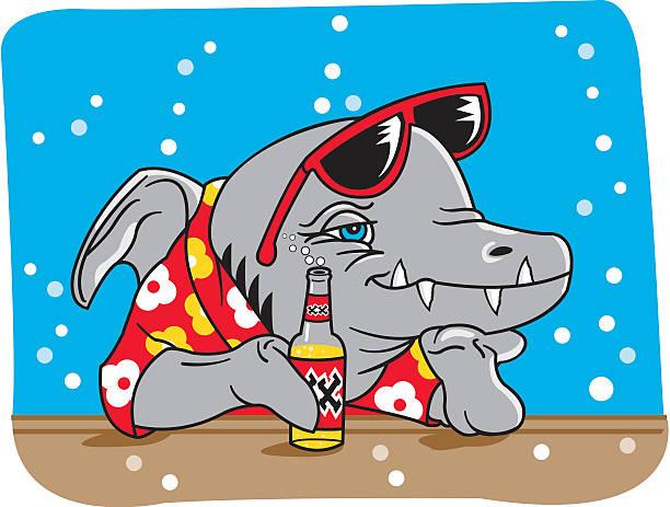 illustrazioni stock, clip art, cartoni animati e icone di tendenza di squalo bar - banchi di pesci