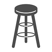 istock Bar stool solid icon, Kitchen furniture concept, Bar chair sign on white background, High chair icon in glyph style for mobile concept and web design. Vector graphics. 1256464153
