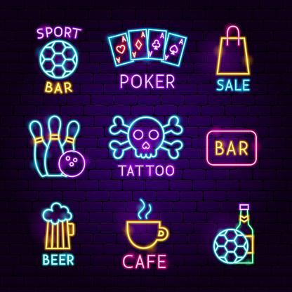 Bar Street Neon Label Set