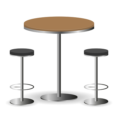 Bar table with chairs. Table with two chairs isolated on a white background. Vector, cartoon illustration. Vector.