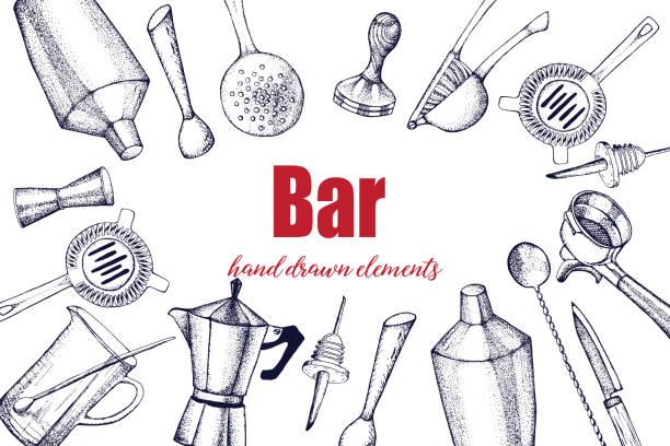 바 도구 세트. - bartender stock illustrations