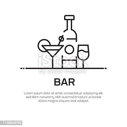 Bar Vector Line Icon - Simple Thin Line Icon, Premium Quality Design Element