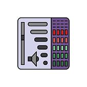 Bar, volume, audio icon. Element of color music studio equipment icon. Premium quality graphic design icon. Signs and symbols collection icon