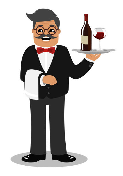 Bar Waiter A waiter stands holding a bottle of wine and wine glass on a tray. minimum wage stock illustrations