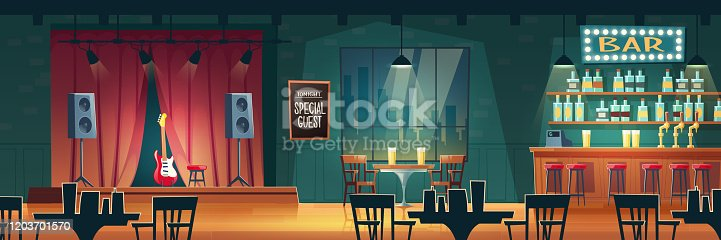 istock Bar with live music cartoon vector interior 1203701570