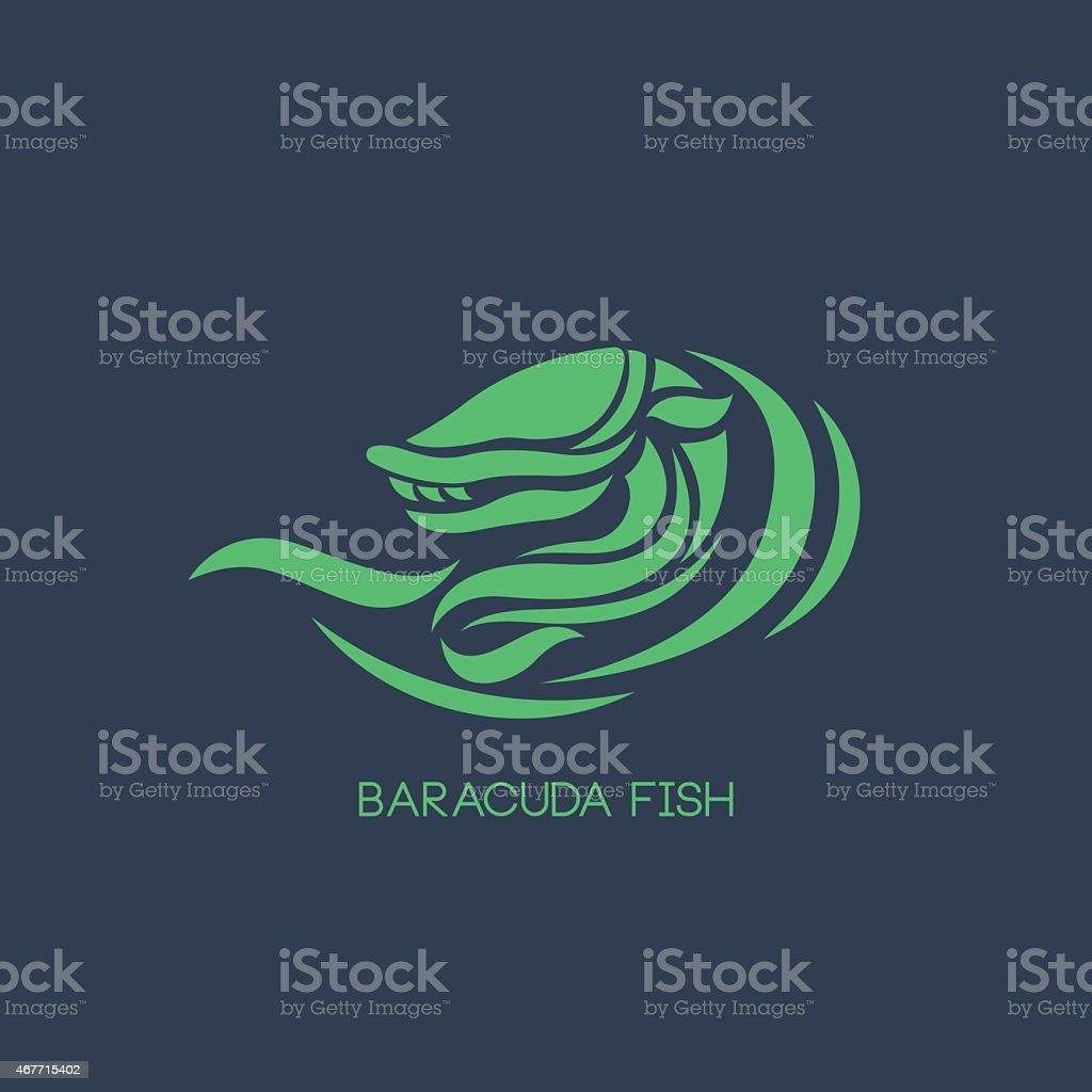 baracuda fish logo vector vector art illustration