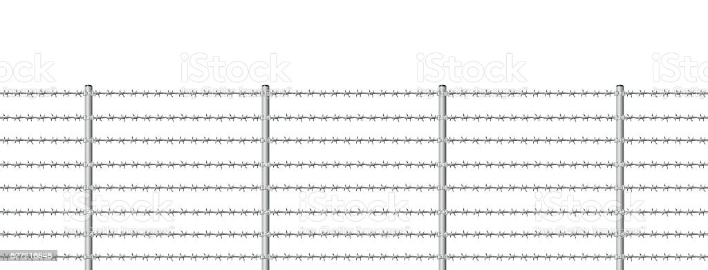 Barb Wire Fence Endless vector art illustration