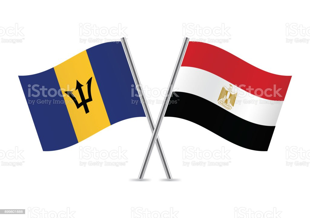 Barbados and Egypt flags. Vector illustration.
