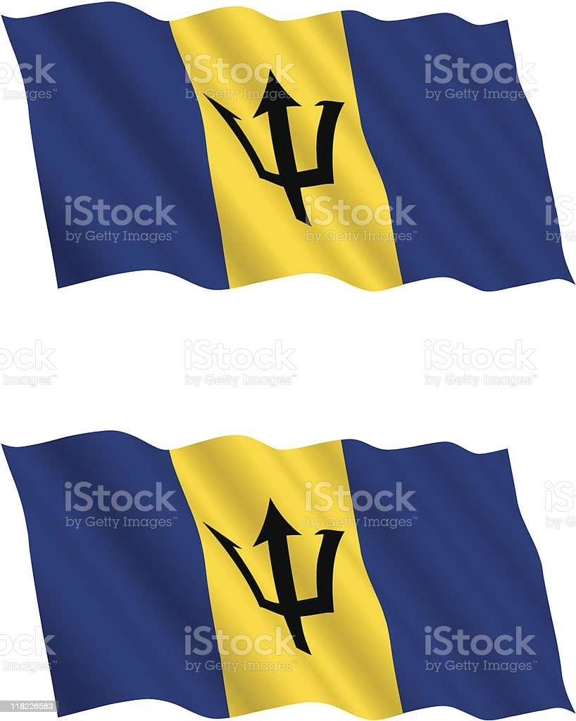 Barbados Flag Flying in the Wind royalty-free barbados flag flying in the wind stock vector art & more images of barbados