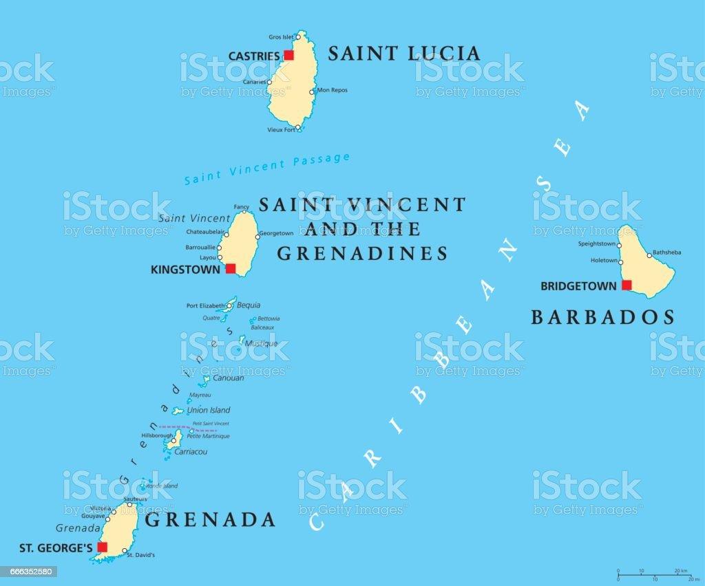 Barbados, Grenada, Saint Lucia and Saint Vincent political map vector art illustration