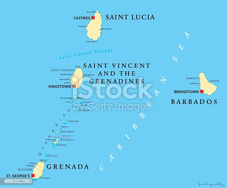 Barbados Grenada Saint Lucia And Saint Vincent Political Map Stock - Political map of barbados
