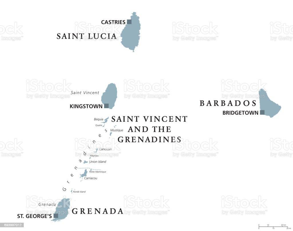 Barbados, Grenada, Saint Lucia, Saint Vincent political map vector art illustration