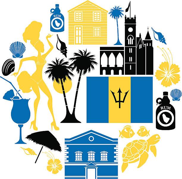 Barbados Icon Set vector art illustration