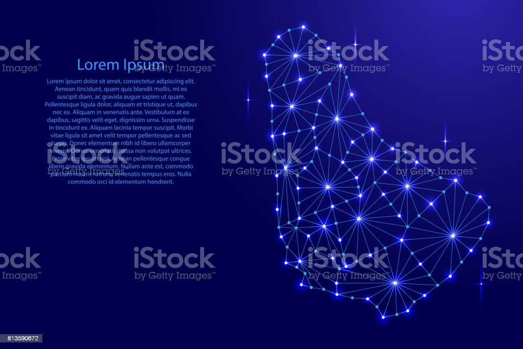 Barbados map of polygonal mosaic lines network, rays and space stars...