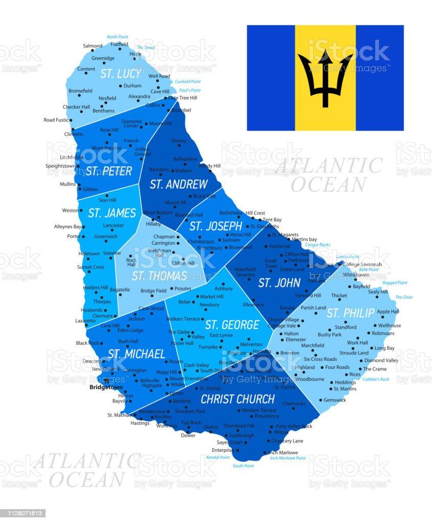 Barbados Map Mit Nationalflagge Blaue Vrillustration Stock ... on
