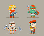 Barbarian berseker bard tribal orc engeneer inventor rifleman fantasy RPG game characters icons set vector illustration