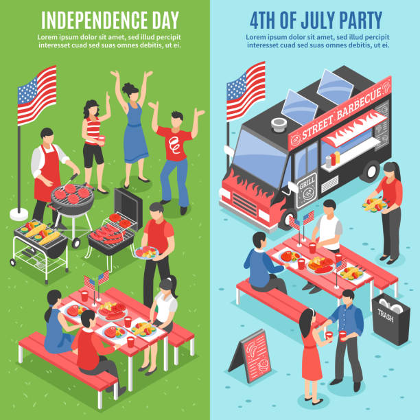 barbecue 4 july banners - fourth of july stock illustrations