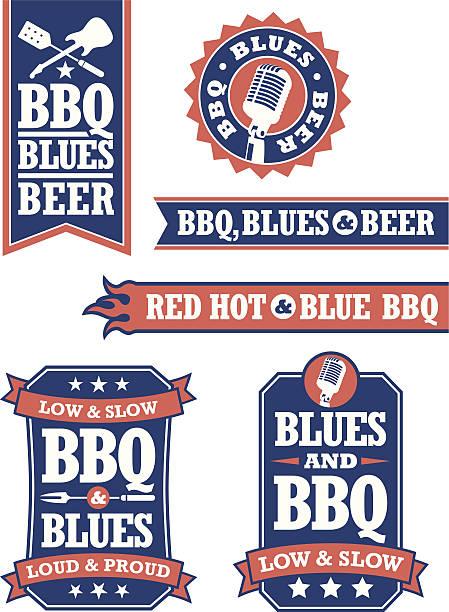 barbecue und blues-abzeichen - blues stock-grafiken, -clipart, -cartoons und -symbole