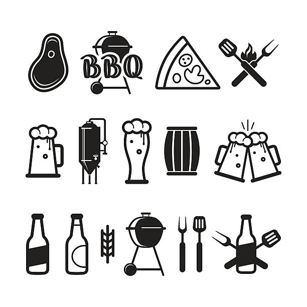 Barbecue and craft beer icons vector art illustration