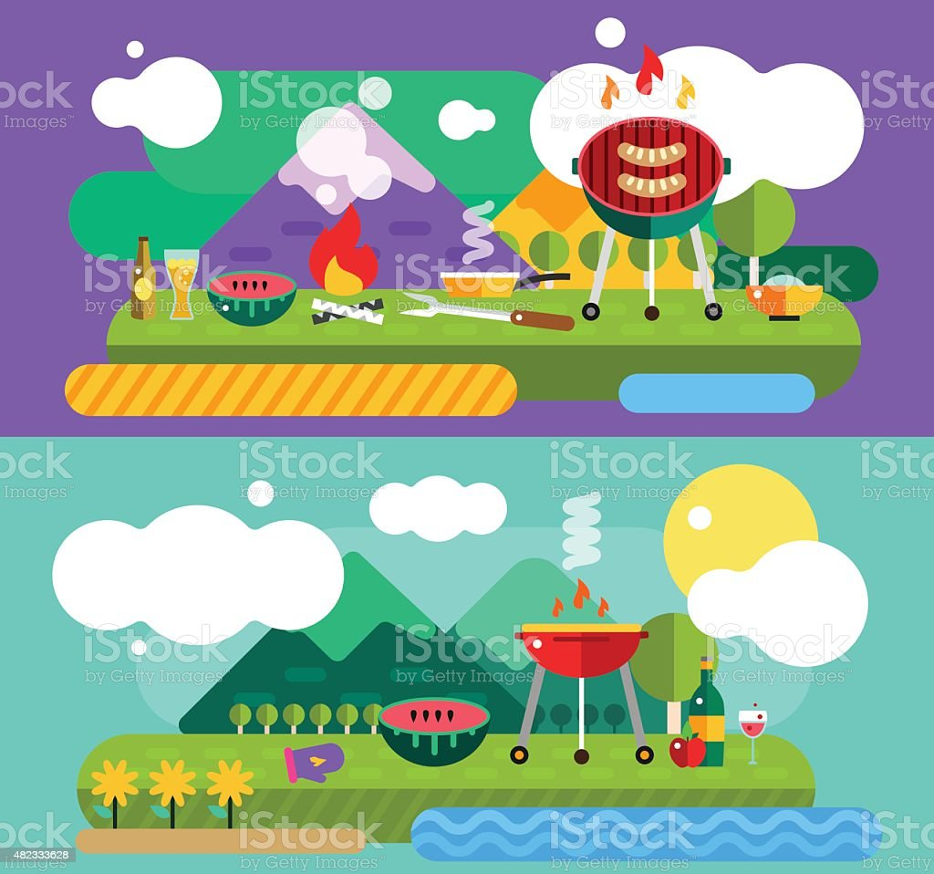 Barbecue and Food Outdoor. Vector Objects set. Outdoor, Kitchen or...