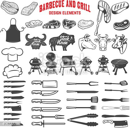 Barbecue and grill. Design elements for label, emblem, sign, menu, poster. Vector illustration
