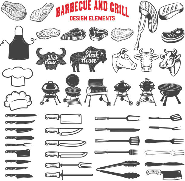 Barbecue and grill. Design elements for label, emblem, sign, menu, poster. Vector illustration vector art illustration
