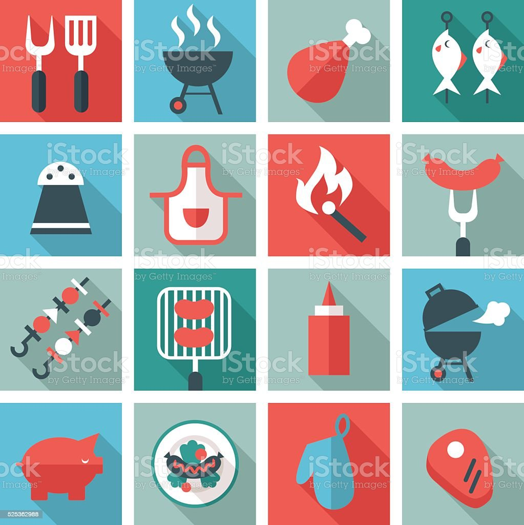 barbecue and grill icon set vector art illustration