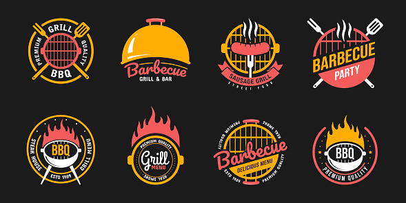 Barbecue and grill labels, badges, logos and emblems. Set vector illustrations. Steak house.