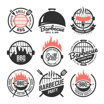 Barbecue and grill labels set. BBQ emblems and badges collection. Restaurant menu design elements. Vector illustration
