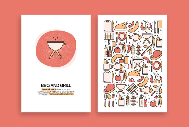 Barbecue and Grill Related Design. Modern Vector Templates for Brochure, Cover, Flyer and Annual Report. Barbecue and Grill Related Design. Modern Vector Templates for Brochure, Cover, Flyer and Annual Report. cooking designs stock illustrations