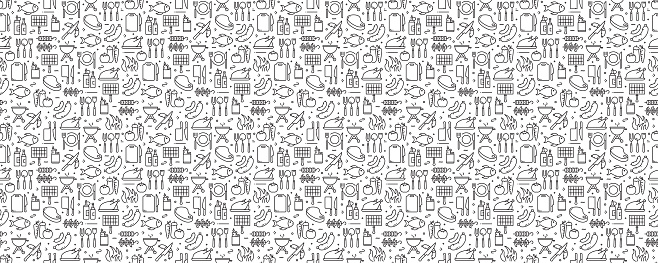Barbecue and Grill Related Seamless Pattern and Background with Line Icons
