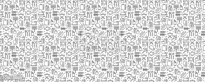 istock Barbecue and Grill Related Seamless Pattern and Background with Line Icons 1203220355