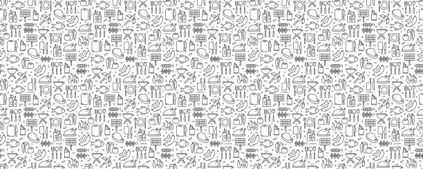 Barbecue and Grill Related Seamless Pattern and Background with Line Icons Barbecue and Grill Related Seamless Pattern and Background with Line Icons cooking patterns stock illustrations